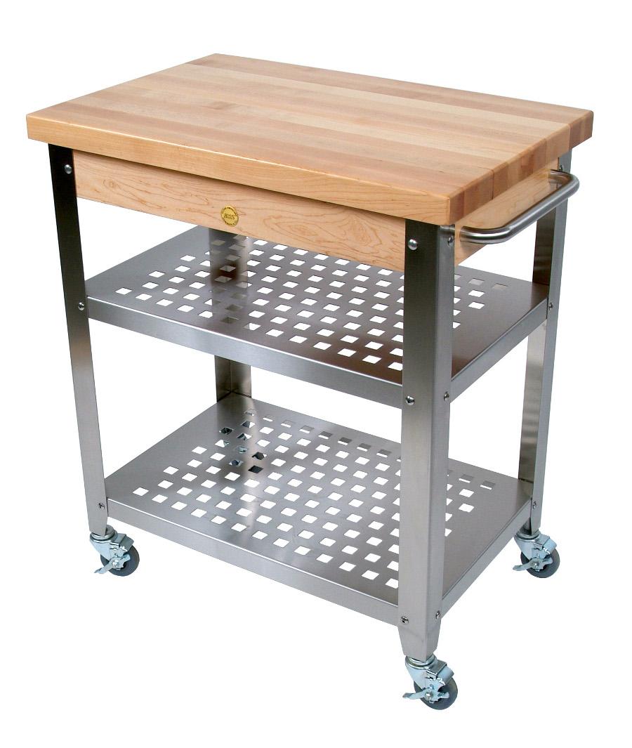 John Boos Maple And Stainless Cucina Elegante Kitchen Cart: John Boos Cucina Rosato Maple-Steel Kitchen Cart