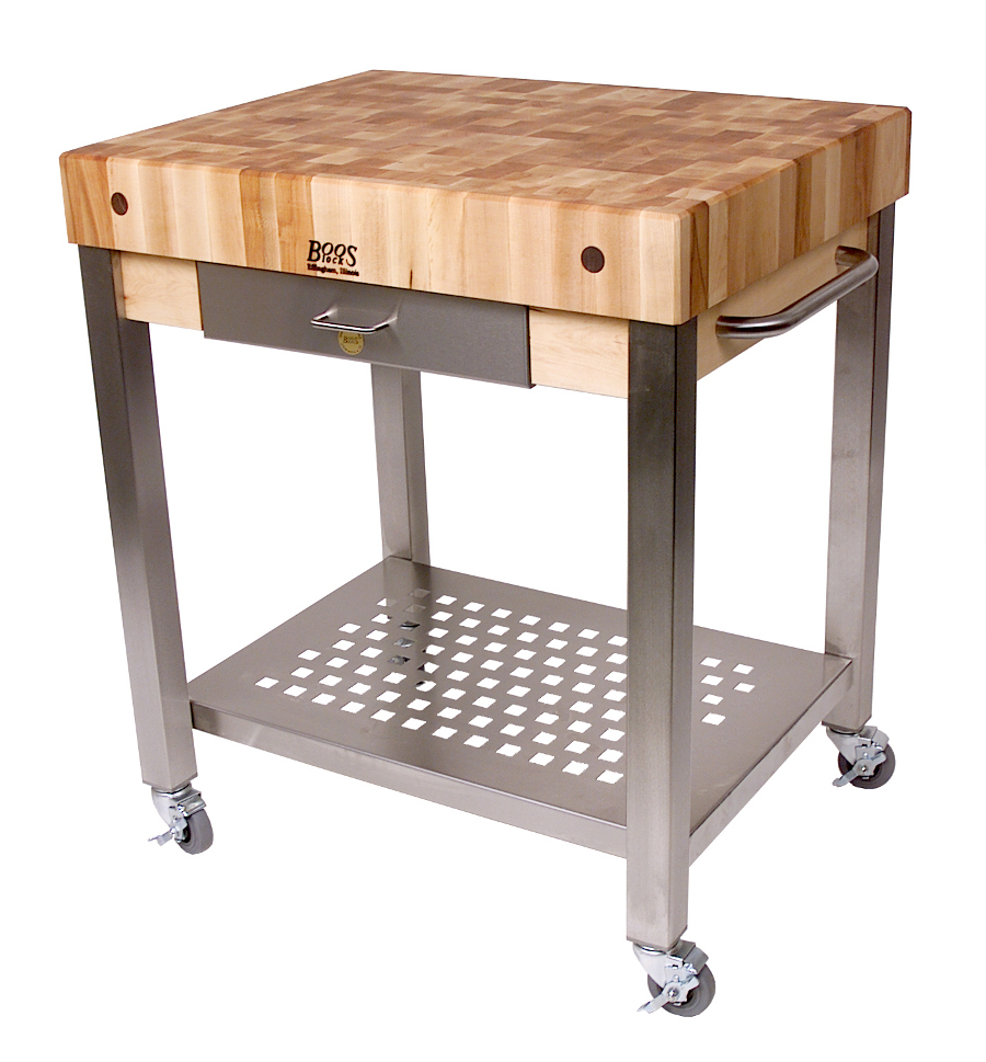 John Boos Cucina Technica End Grain Butcher Block Kitchen Cart w 4-in. Thick Top CUCT24