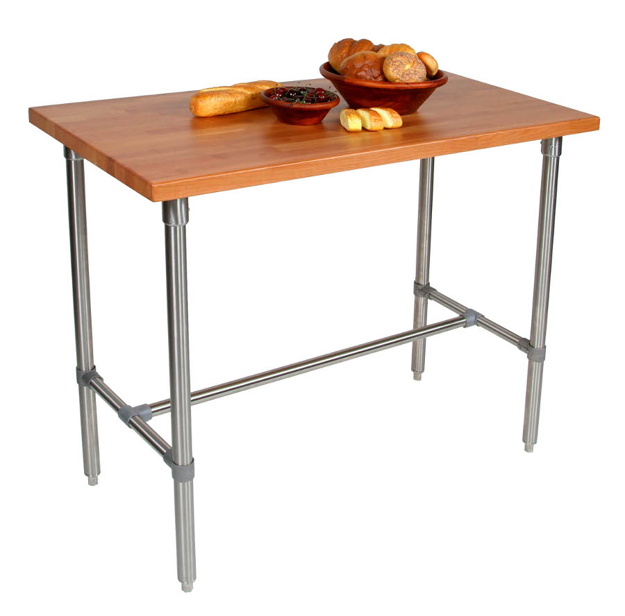 John Boos Cucina Classico Cherry & Stainless Steel Table - 48