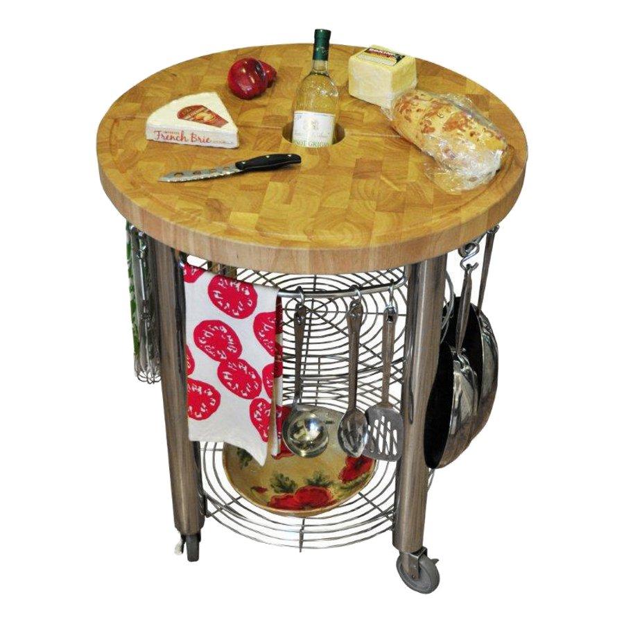Round Kitchen Cart Butcher Block : 30 in. Round Kitchen Cart 2 in. Butcher Block Cart