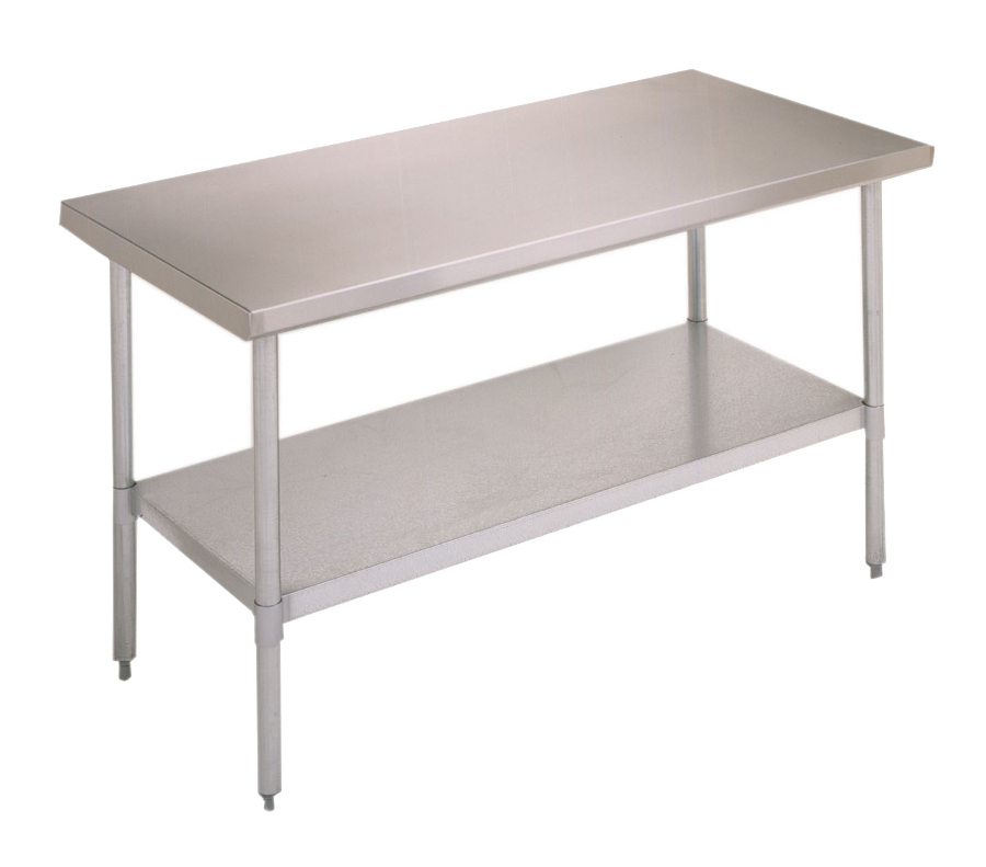 Boos Economy Steel Table - 18-GA Stainless Top, Galvanized Legs & Shelf
