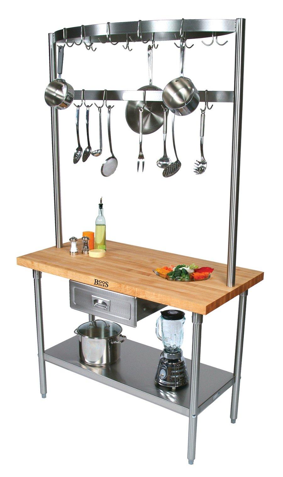 Boos Cucina Grandioso Prep Table Optional Pot Rack