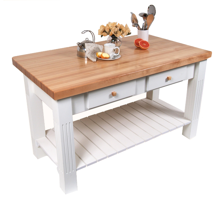 White Butcher Block Kitchen Table : Drop-Leaf Kitchen Islands Island with Drop Leaf