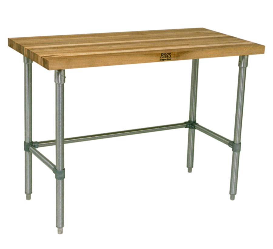 John Boos JNB Maple Top Work Table with Galvanized Base Model JNB