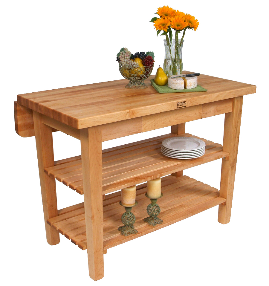 Boos Kitchen Island Bar – Butcher Block Table with Drop Leaf