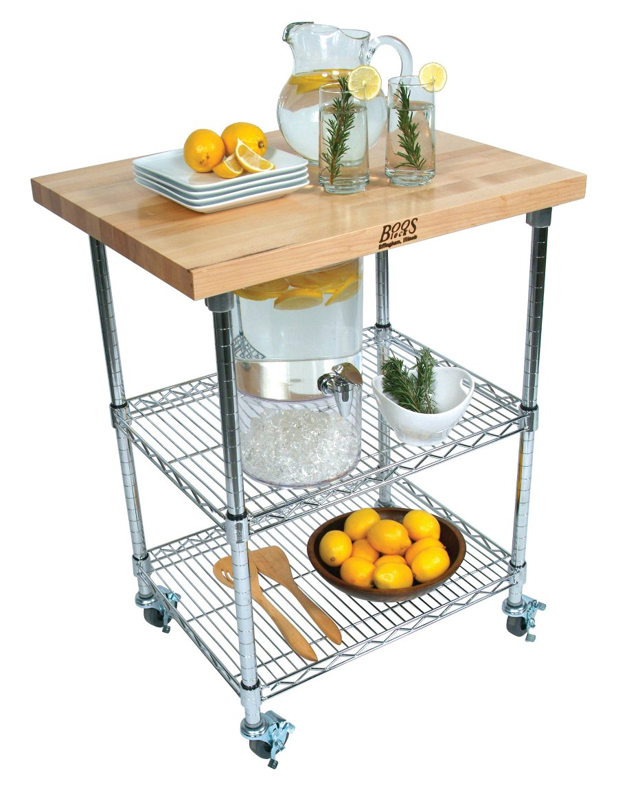 Boos Metropolitan Wire Cart - Butcher Block Top, Chrome Shelves, 27