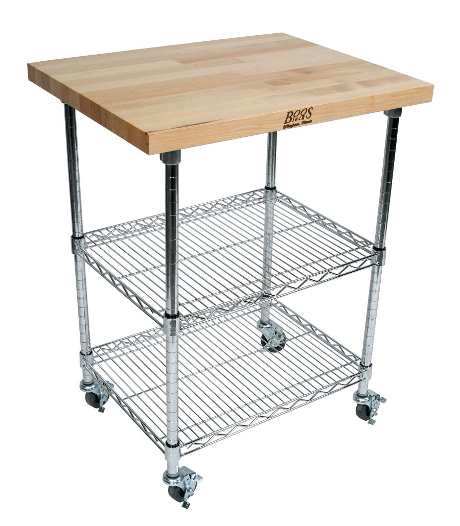 John Boos Butcher Block Chrome Metro Kitchen Cart