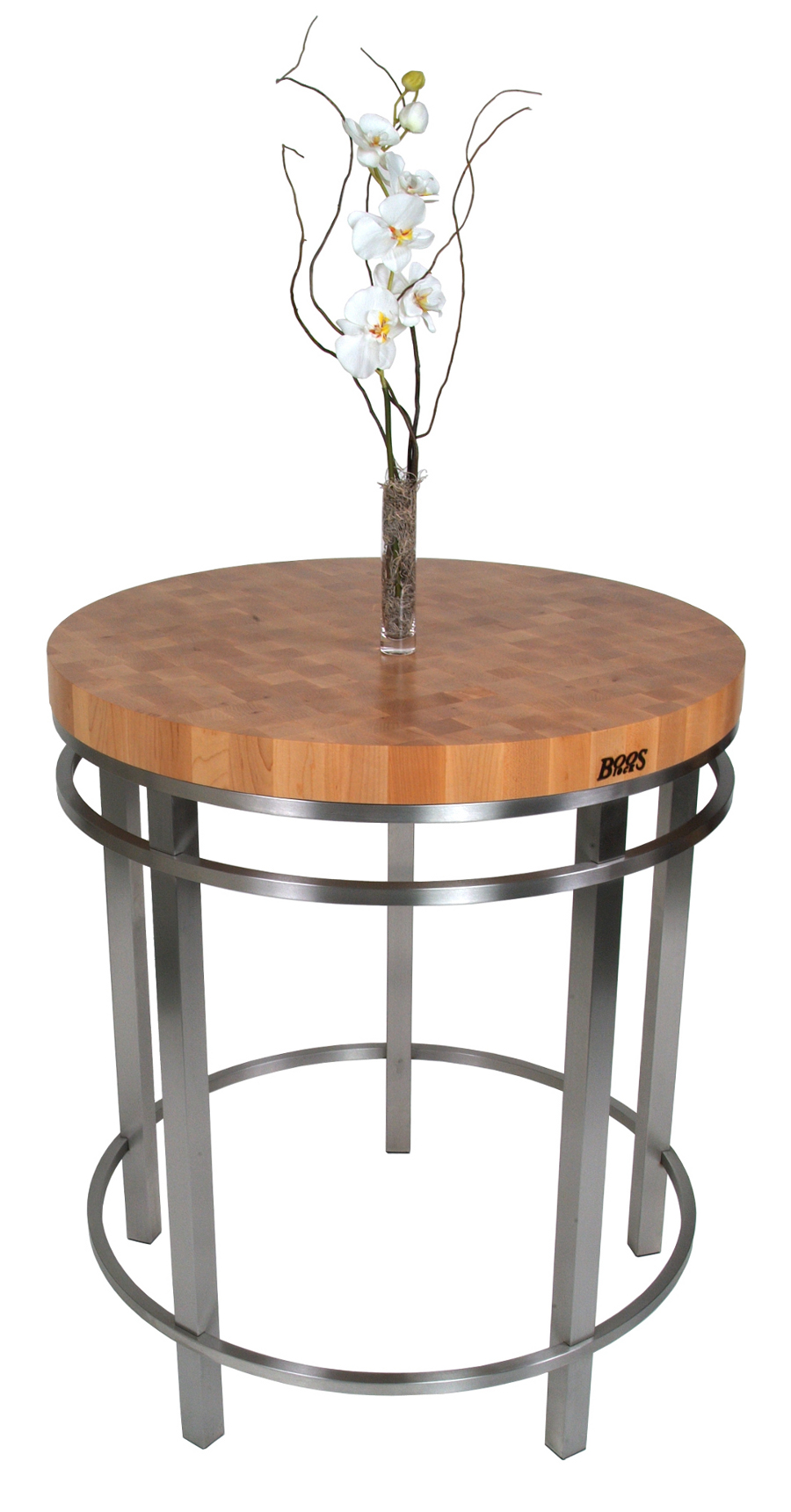 "Boos Maple & Stainless Steel 32"" Round Metro Oasis Table"