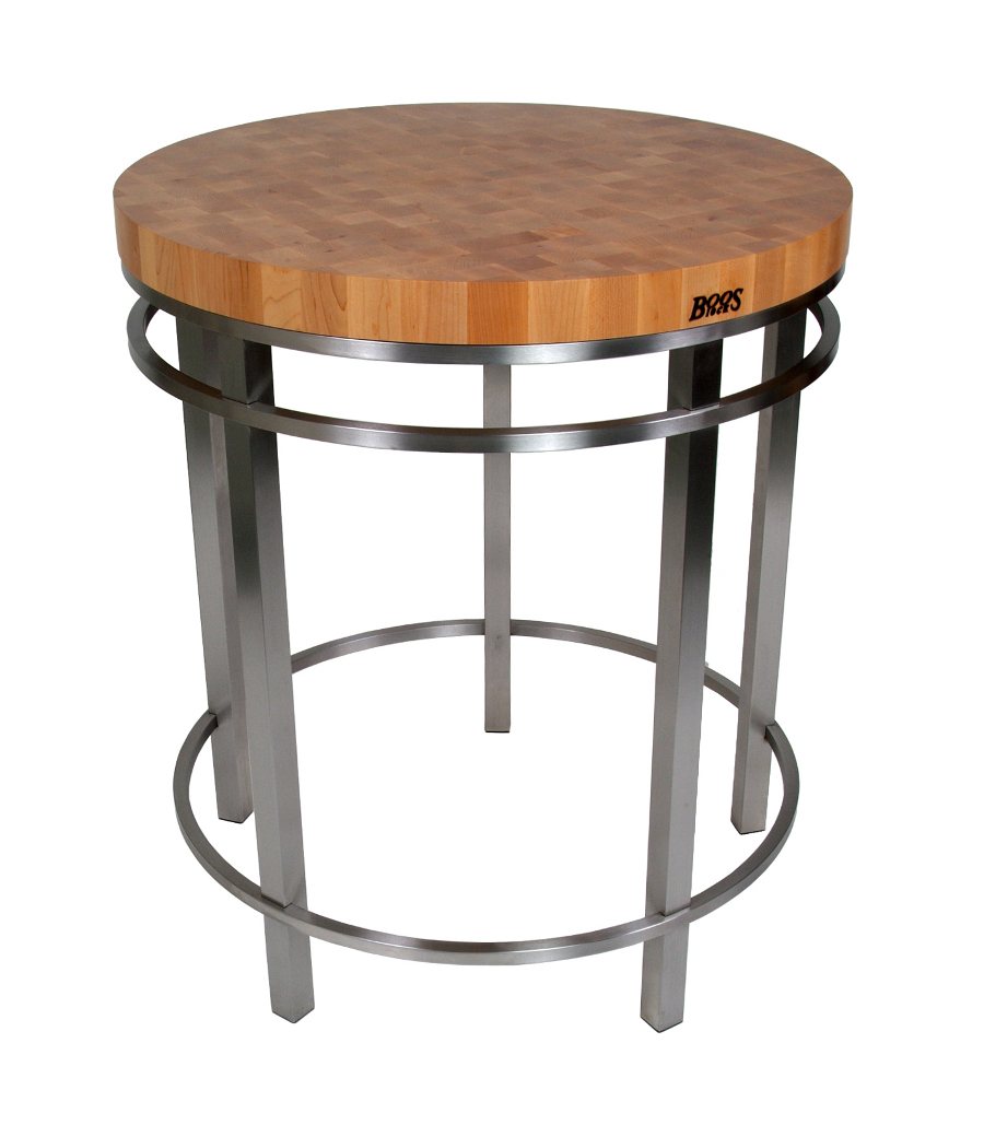 "Boos Maple & Stainless Steel 32"" Round Metro Oasis Table - 36"