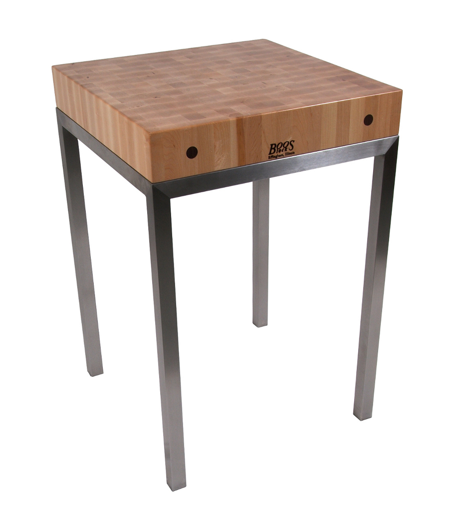 Boos Metro Station - 24x24 Butcher Block on Stainless Steel Frame