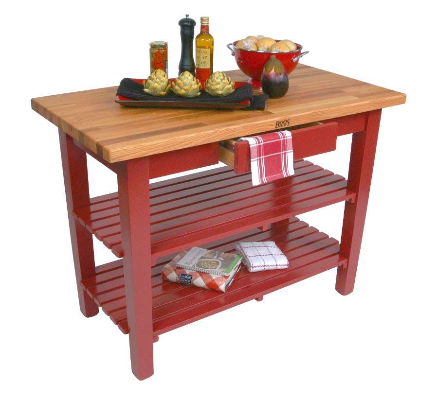 Butcher Block Red Kitchen Island : Boos Oak Country Work Table Butcher Block Island