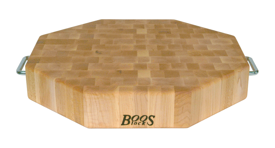 Boos Octagonal Cutting Board - Stainless Steel Handles, Reversible