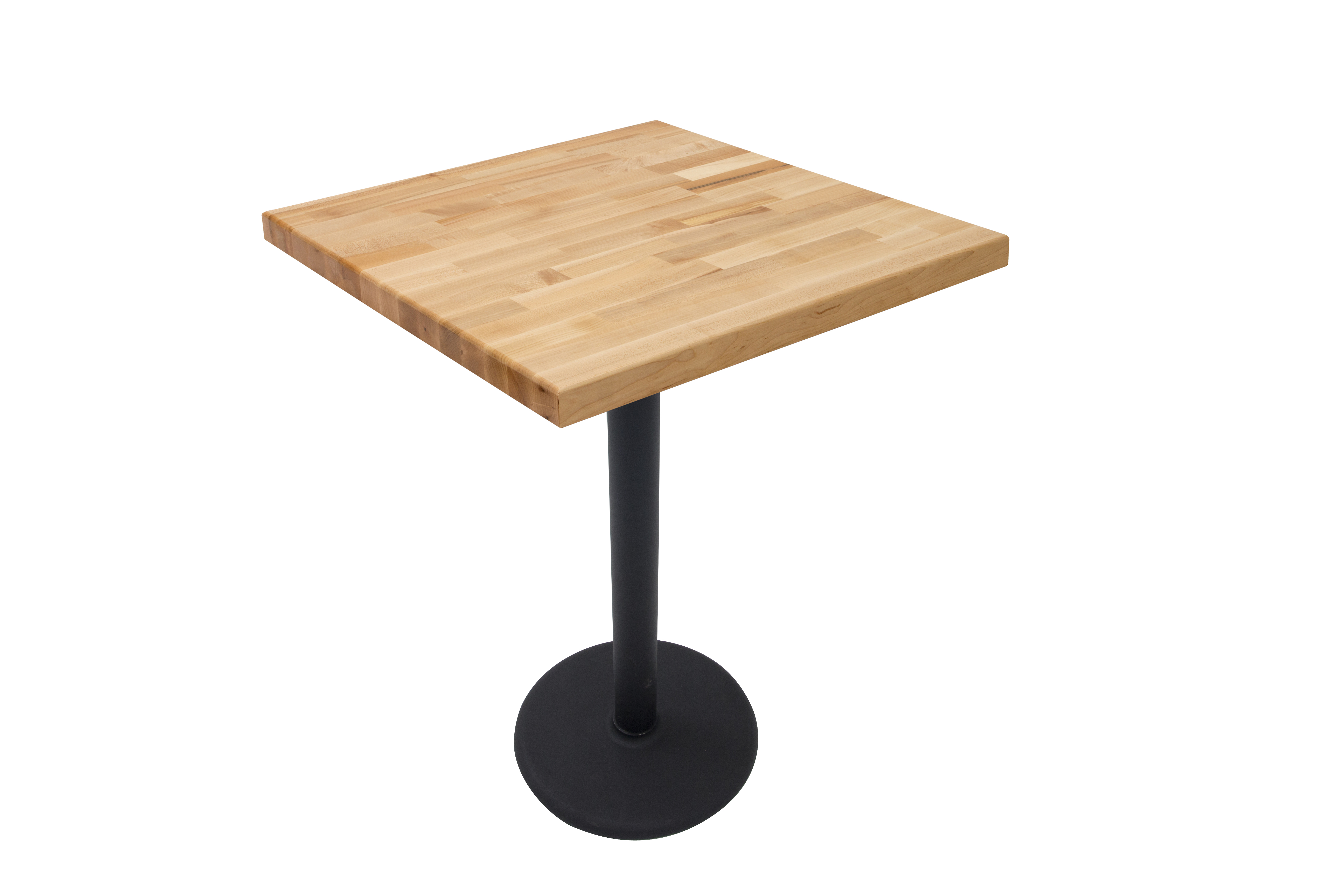 John Boos Maple Blended Grain Butcher Block Table Top on Metal Disc Base