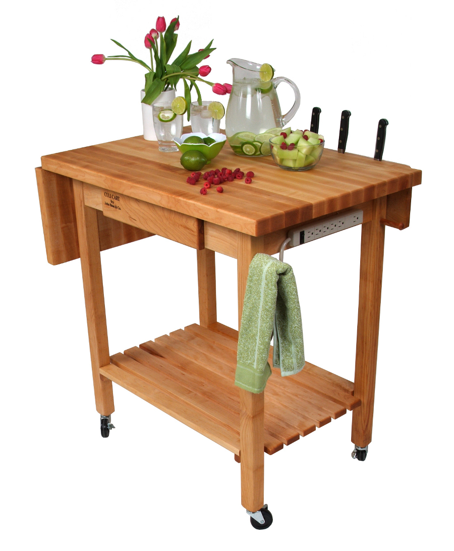 Boos Deluxe Culinary Cart - Drop Leaf, Knife Holder, Drawer, Power Strip