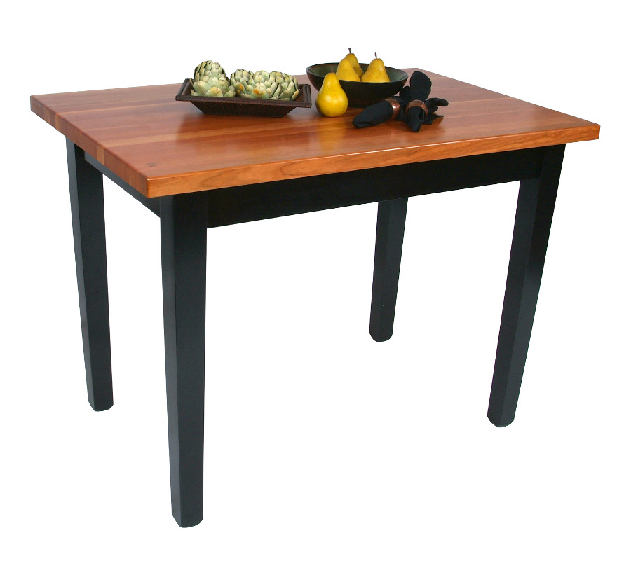 John Boos Le Classique Cherry Butcher Block Table w/ Black Legs