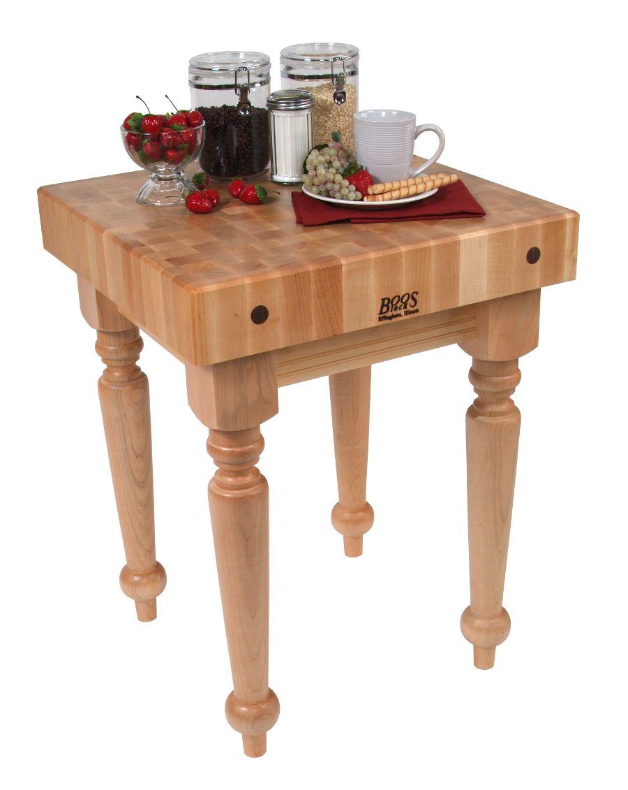 Boos Saratoga Farm Maple Butcher Block on Spindle Legs - 24x24 or 30x24