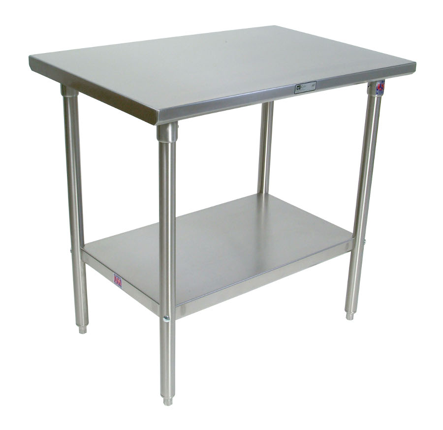 Boos Steel Work Table - 14-GA Stainless Top, Galvanized Base & Shelf