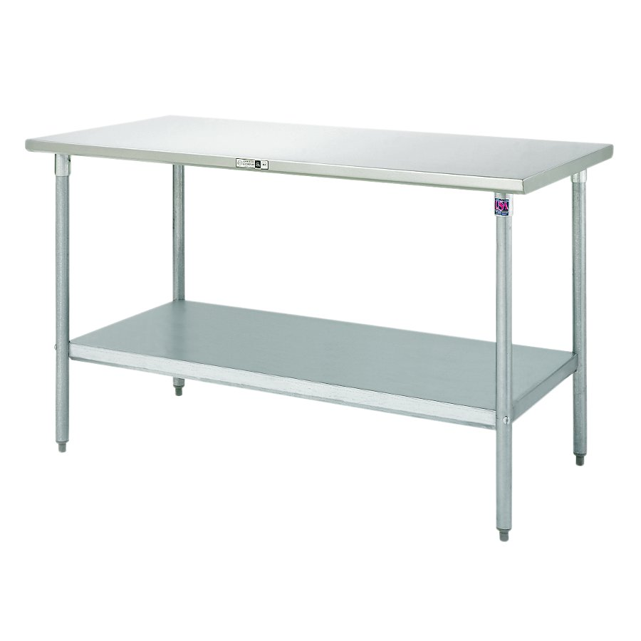 Boos Steel Work Table - 16-GA Stainless Top, Galvanized Base & Shelf