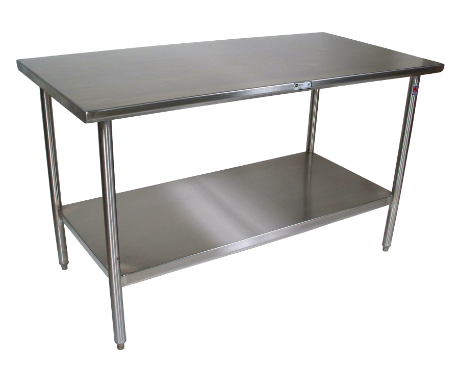 John Boos All-Stainless Steel Work Table with Shelf - 16-GA Top, 18-GA Shelf