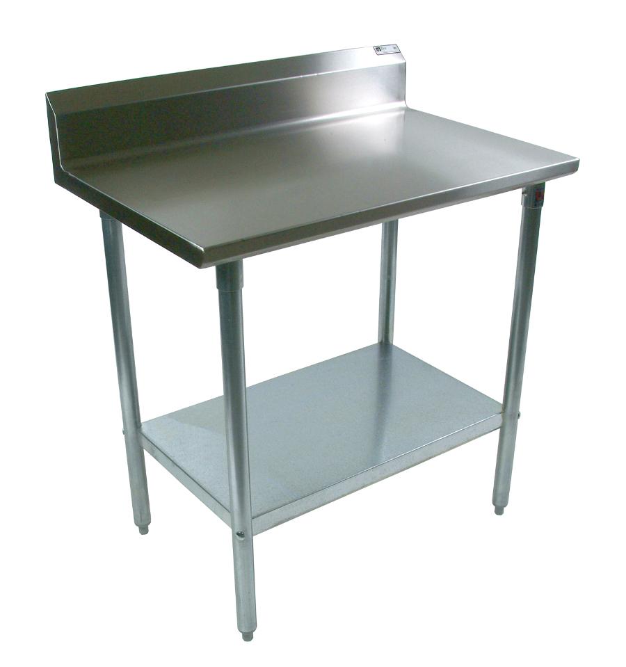 John Boos Steel Work Table - 16Ga SS Top & Riser, GS Legs & Shelf