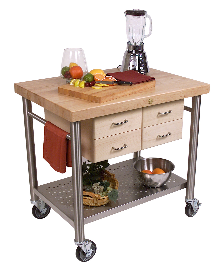 John Boos Cucina Veneto Cart - 4 Drawers, S.S. Base, 36