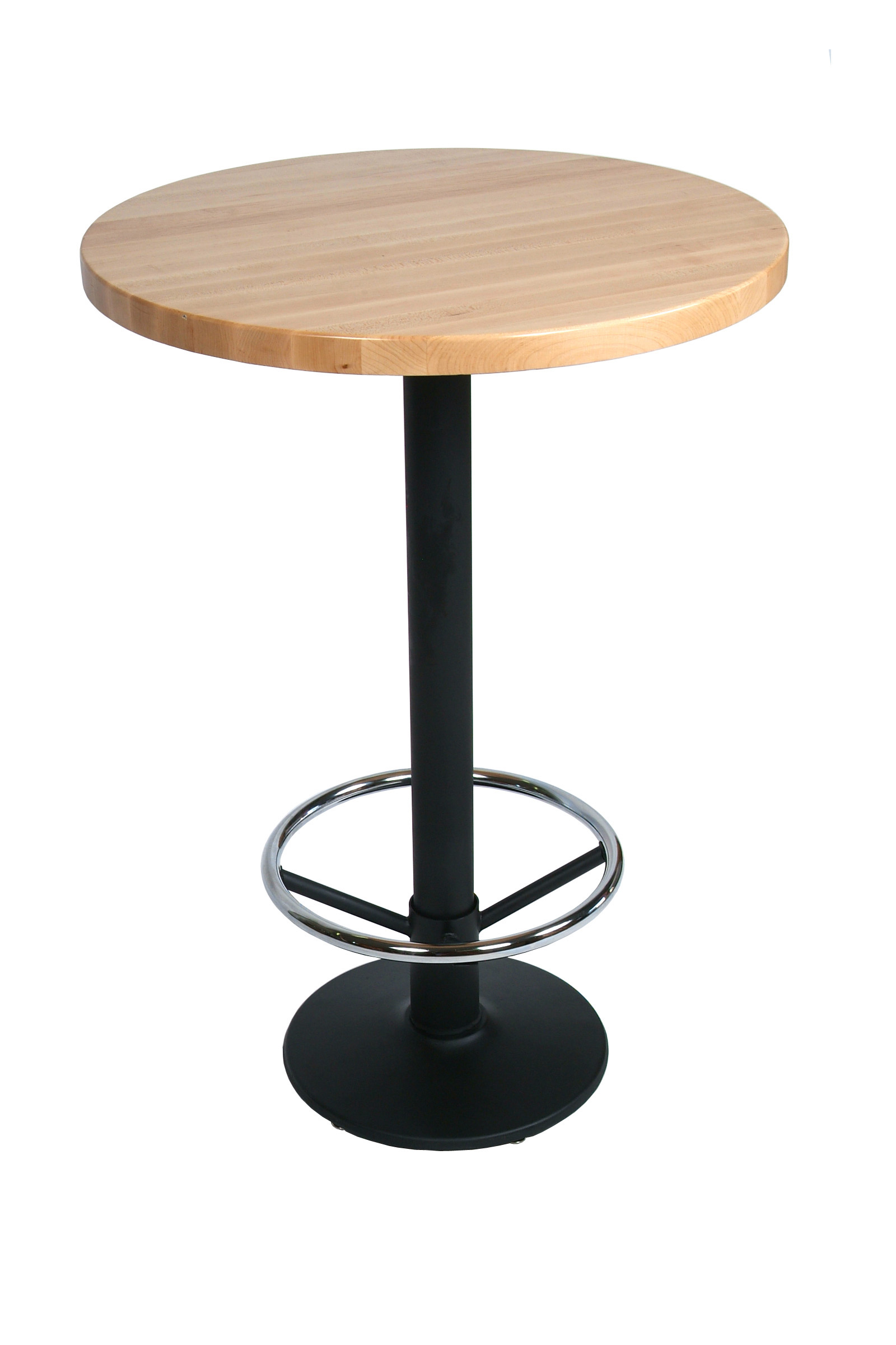 John Boos Maple Edge Grain Butcher Block Table Top on Metal Disc Base with Foot Rest