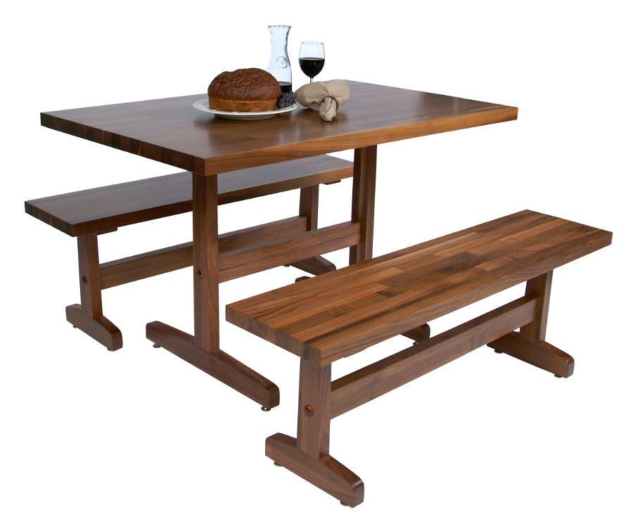 Boos Walnut Trestle Table Benches for Casual Dining or Work
