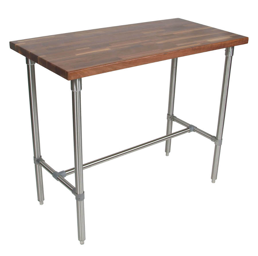 John Boos Cucina Classico Walnut & Stainless Steel Table - 48