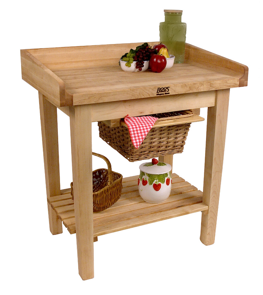 john boos white house table/cart with butcher block top
