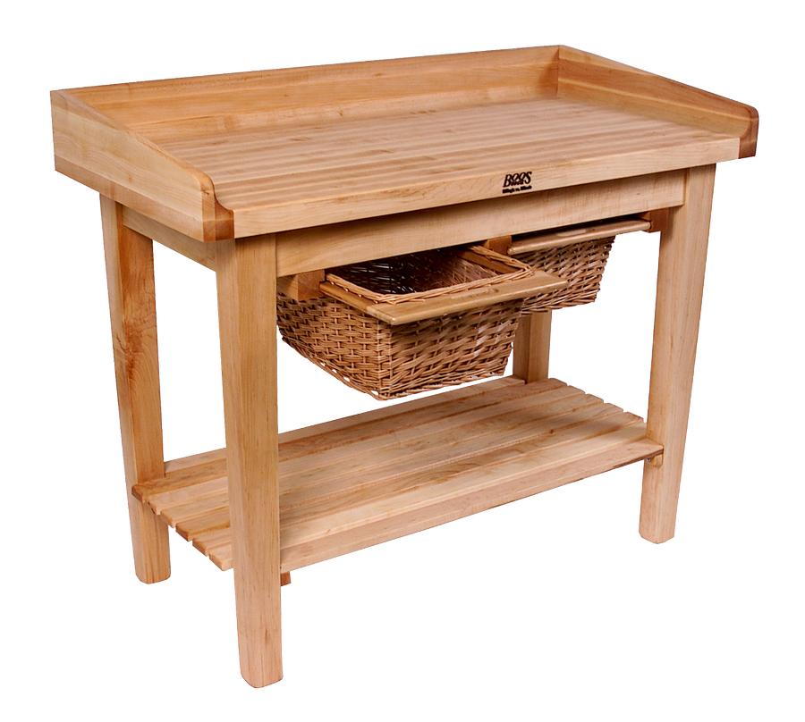 john boos white house table | butcher block w baskets