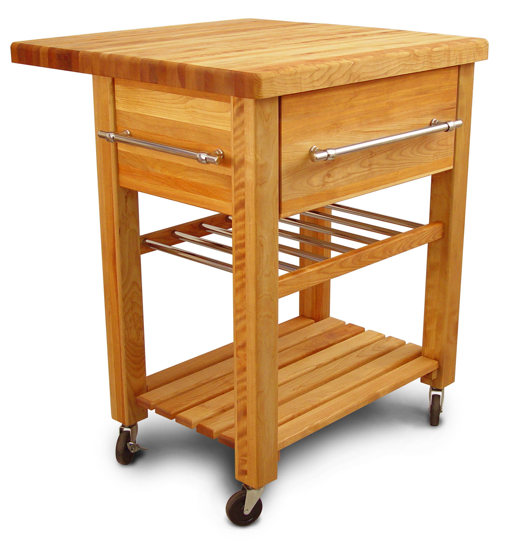 Catskill Grand Island Butcher Block Wine Cart with Drop Leaf