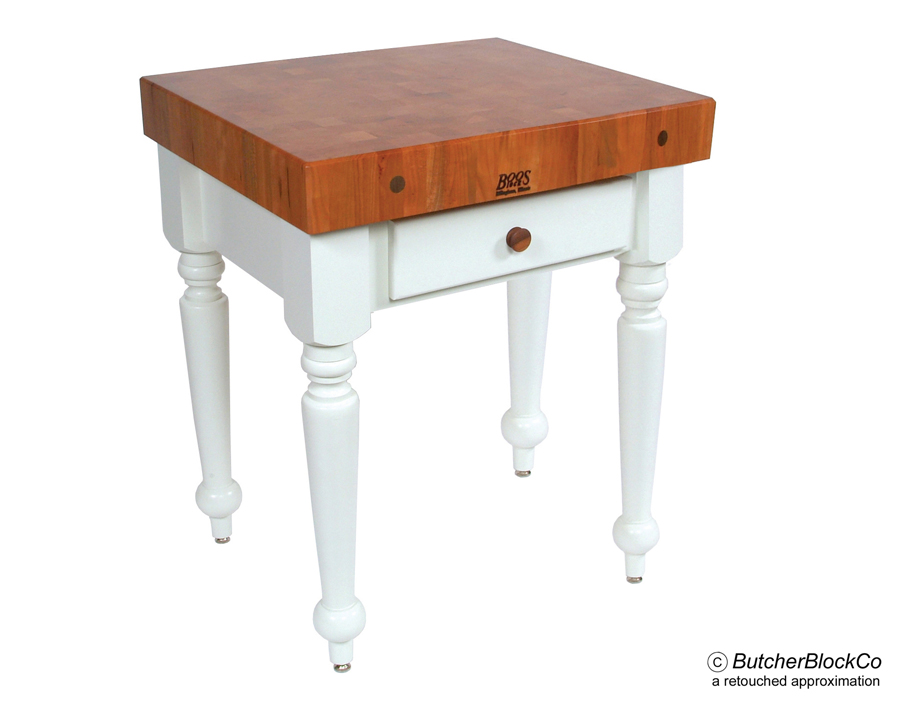 Boos Cherry Rustica - Cherry Butcher Block on Alabaster-White Base
