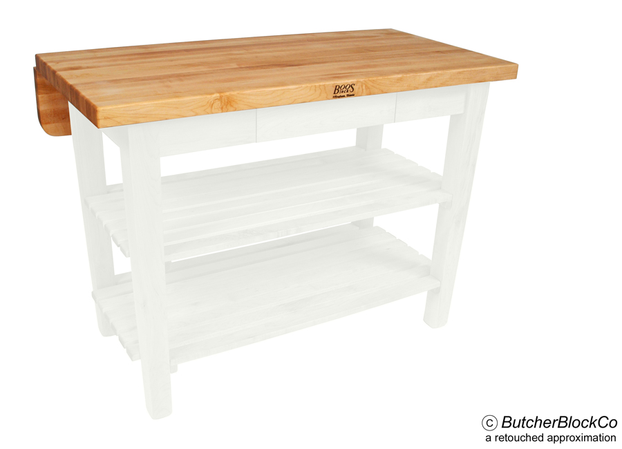 John Boos Kitchen Island Bar Butcher Block with Drop Leaf - Alabaster base