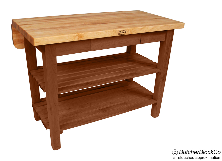 John Boos Kitchen Island Bar Butcher Block with Drop Leaf - Cherry Stain