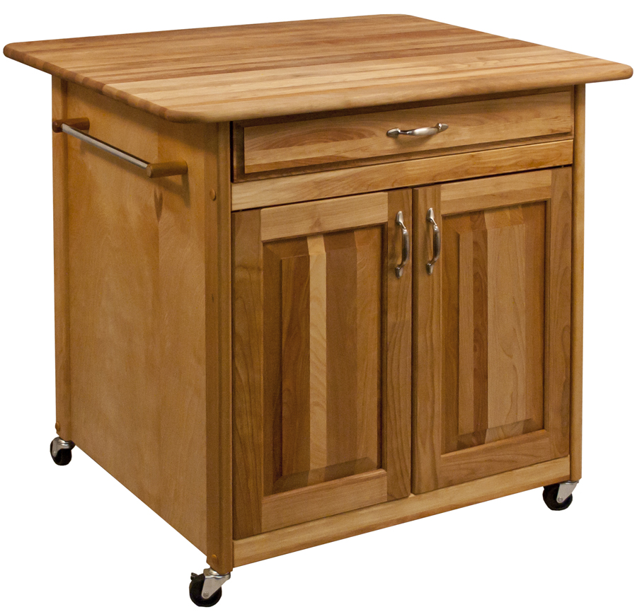 "Catskill's Big Work Center Island - 36""x30"" Butcher Block Top, 8 cu. ft. Storage"