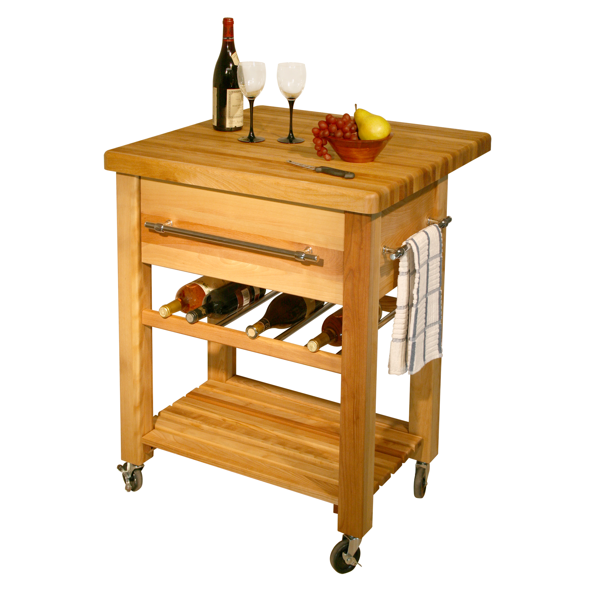 Butcher Block Kitchen Workcenter With Wine Rack