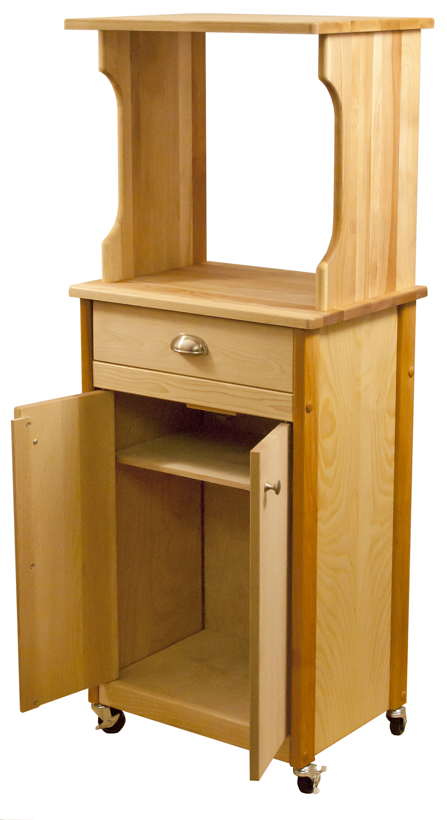 Kitchen Cart With Microwave Shelf Butcher Block Top