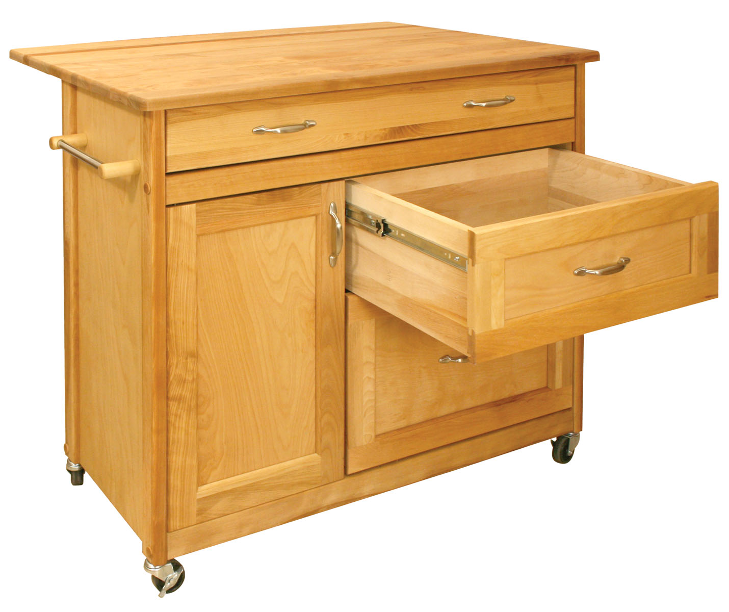 Catskill Mid-Sized Drawer Island - Huge Drawers plus Drop Leaf