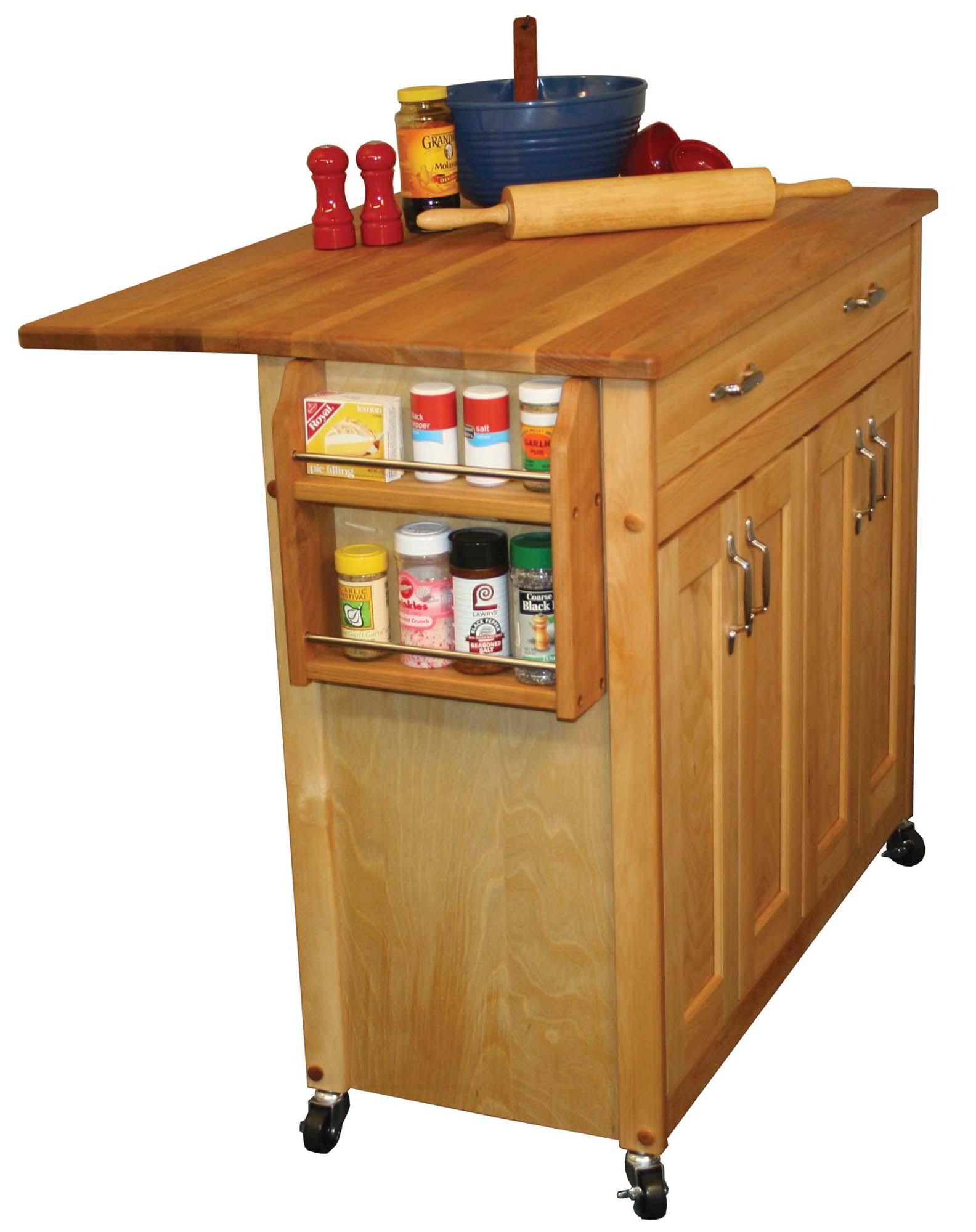 Catskill Mid Sized Kitchen Island Cart W Drop Leaf