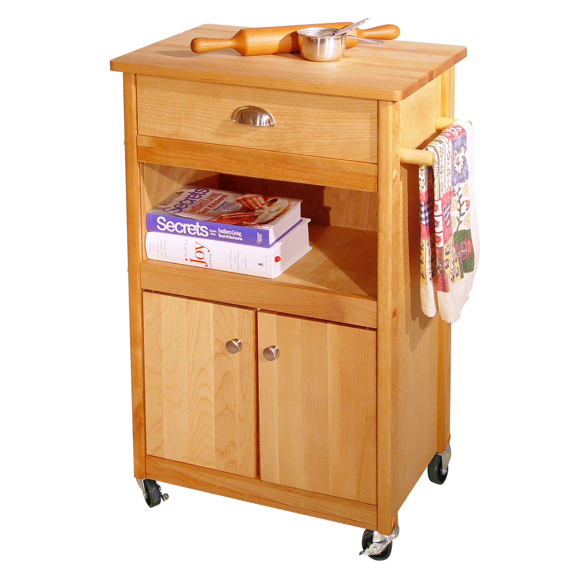 Butcher Block Storage Cart With Drawer Open Shelf