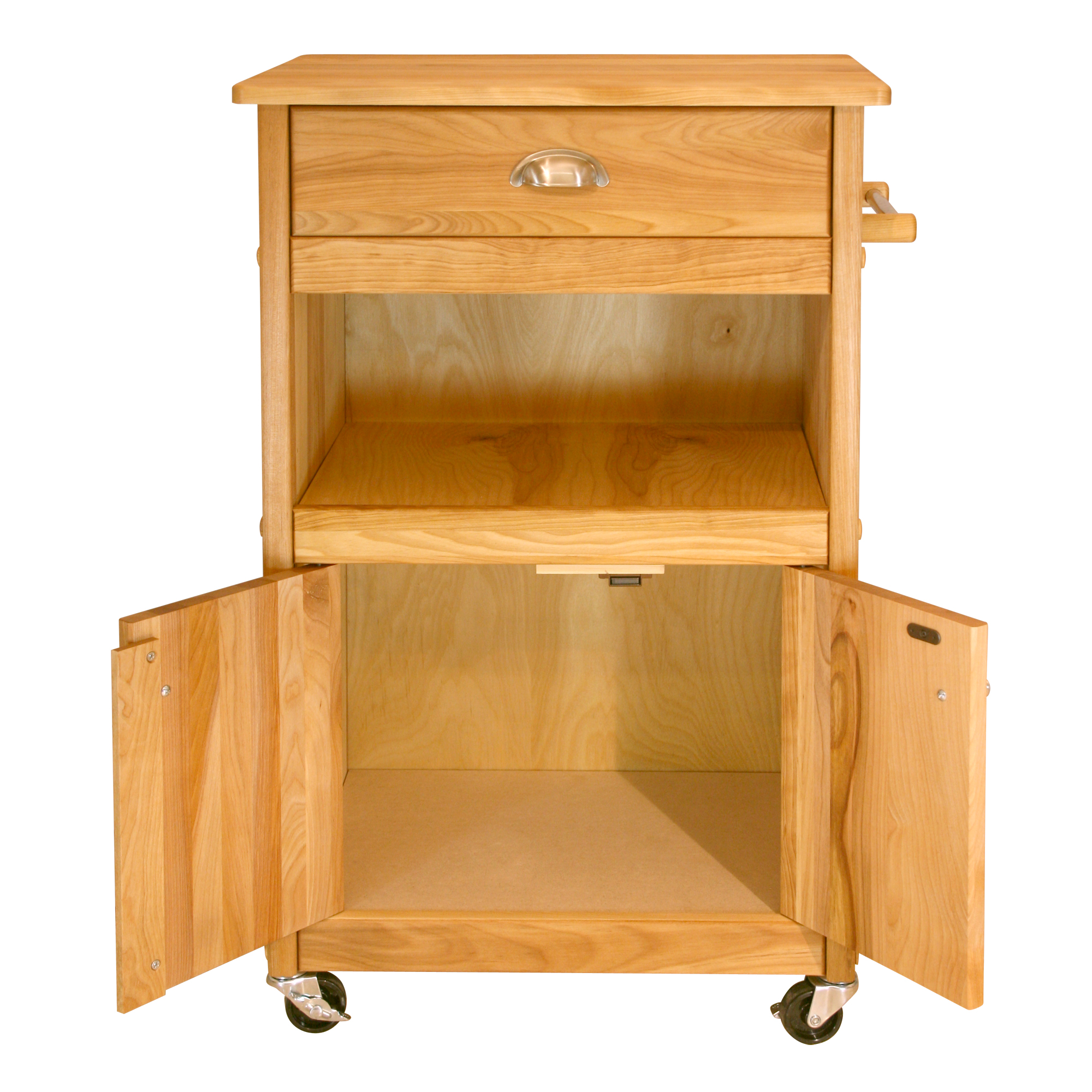 Butcher Block Storage Cart with Drawer, Open Shelf