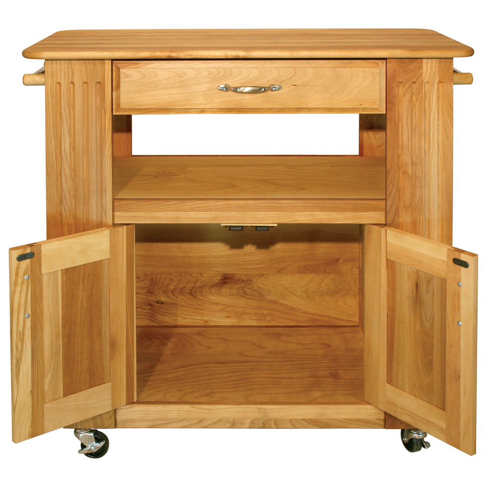 Catskill Heart-of-the-Kitchen Island - Butcher Block Top, Side Shelves