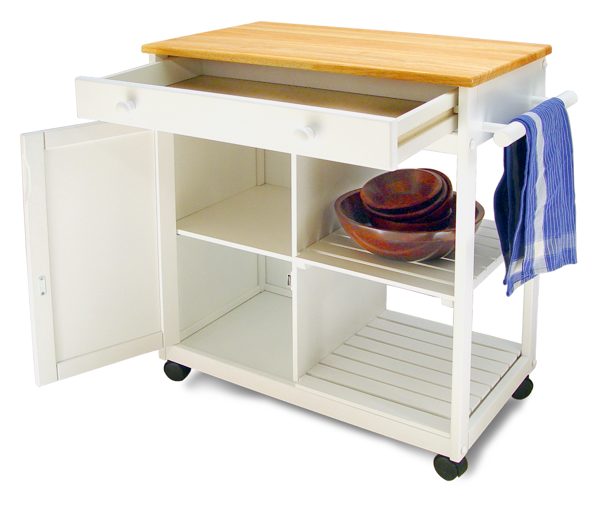 Classic Cottage Design Kitchen Cart W White Base