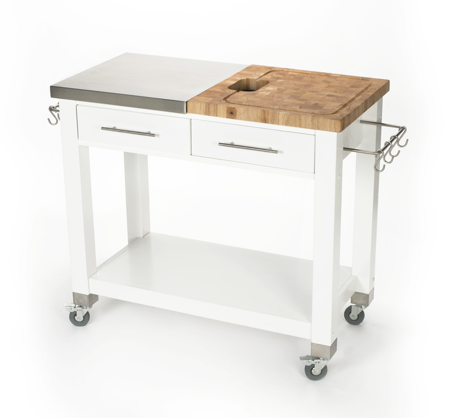 Chris & Chris Stainless Steel-Butcher Block White Work Station, 20