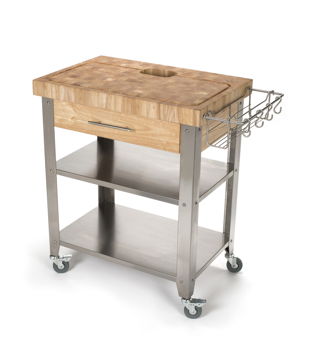 Chris & Chris Rubber Wood Stainless Steel Kitchen Cart - 30