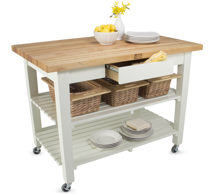 John boos classic country work table island table for Kitchen island table