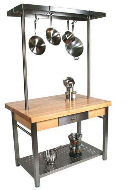 Cucina Grande Work Station - Optional Leaf, Pot Rack, Casters