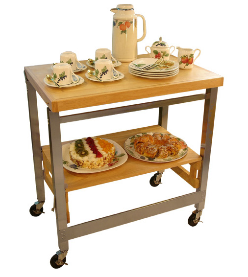 Flip And Fold Rolling Table Stainless Steel Wood: Stainless Steel And Wood Kitchen Cart