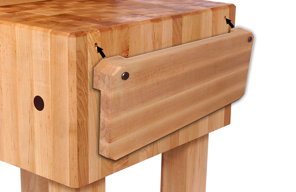 john boos pca butcher block with wood knife holder