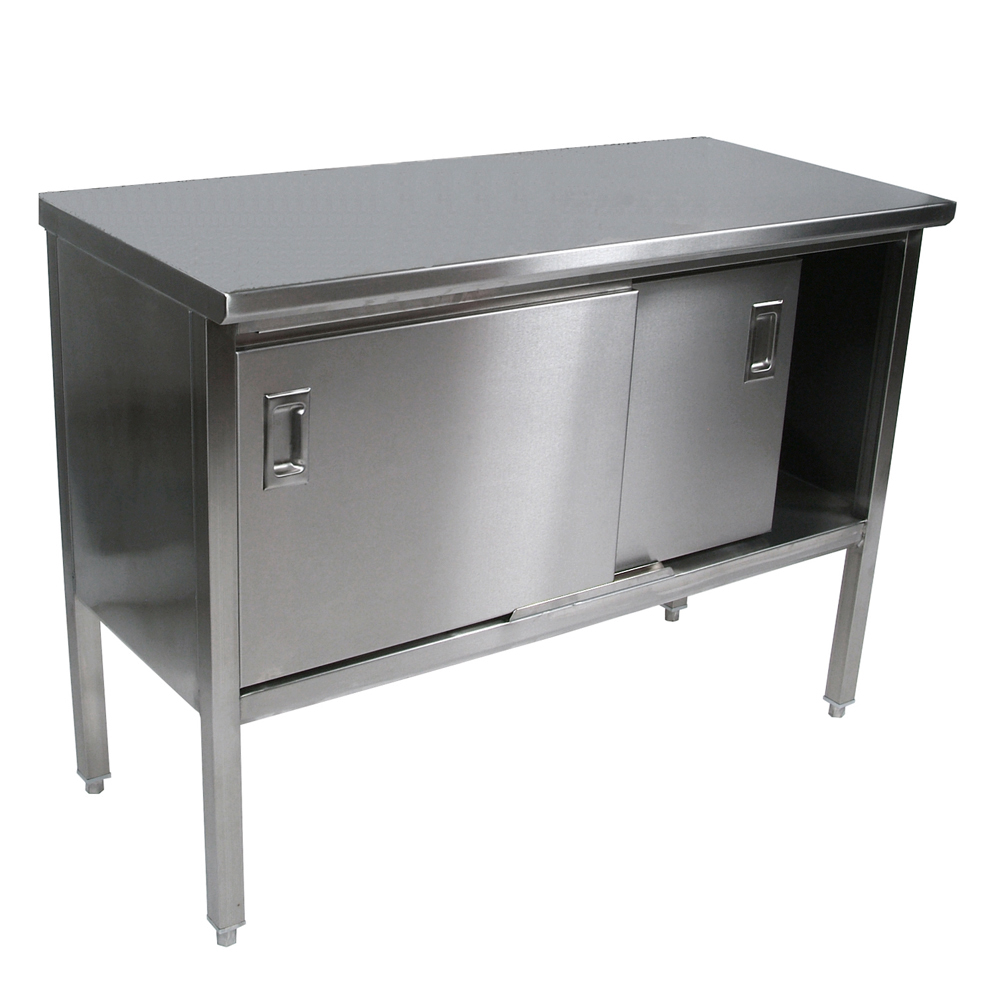 John boos stainless steel top work tables cabinets - Steel kitchen tables ...